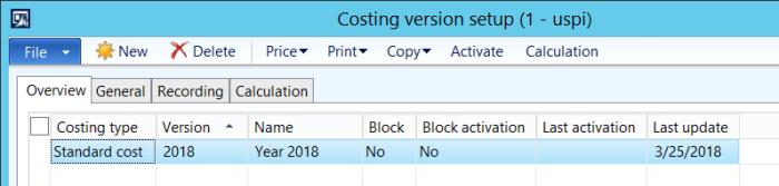 costing version