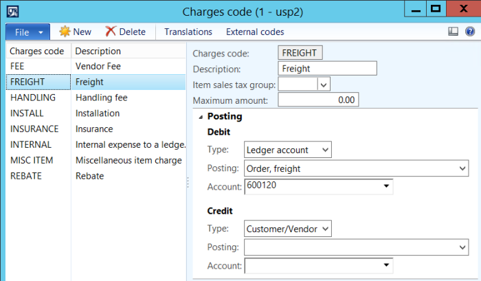 charges code
