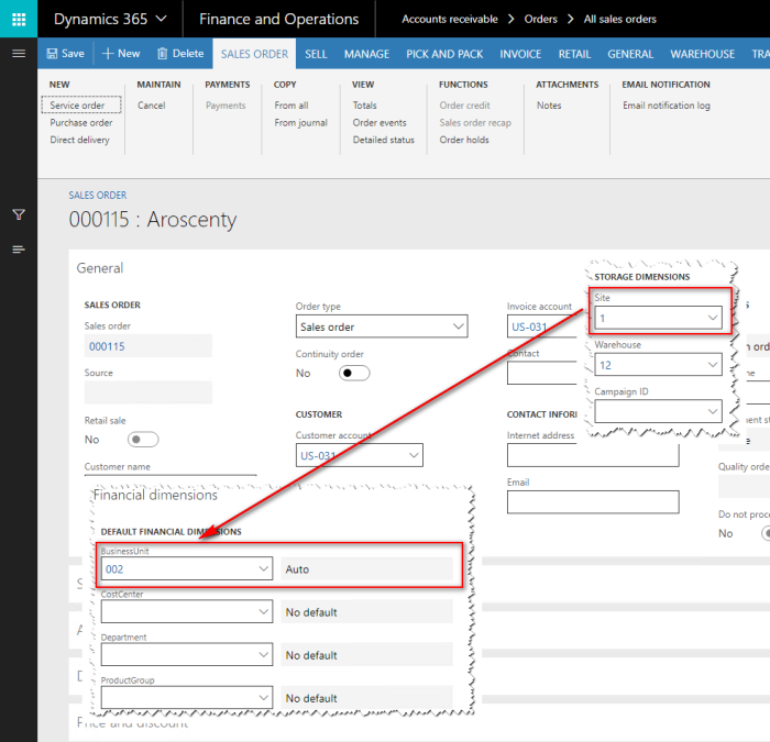 How to collect financial data by sites in Dynamics 365 for