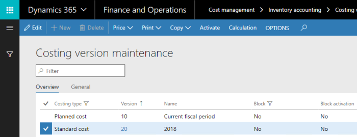 Costing version maintenance