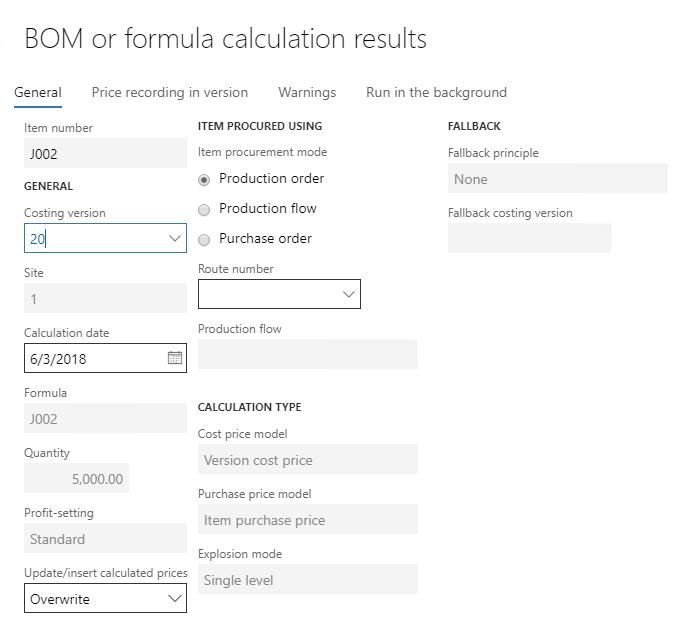 Formula calculation