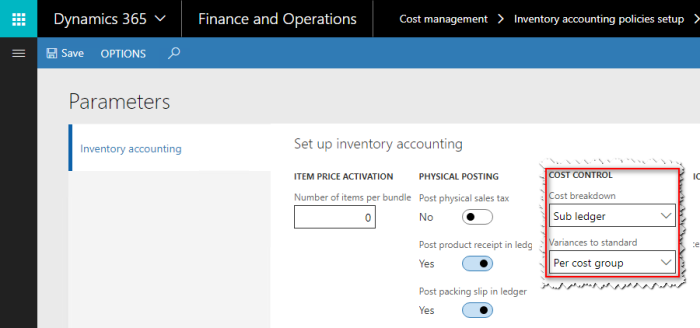 Inventory accounting policies setup