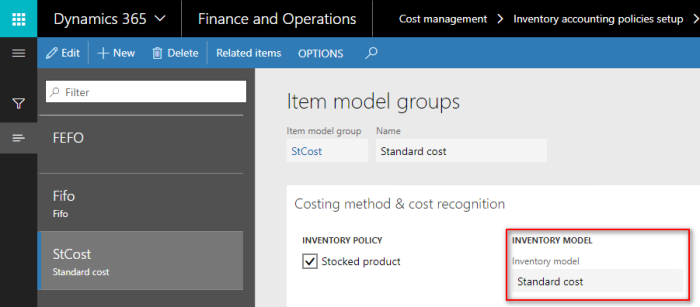 Standard direct labor cost in Dynamics 365 for Finance and