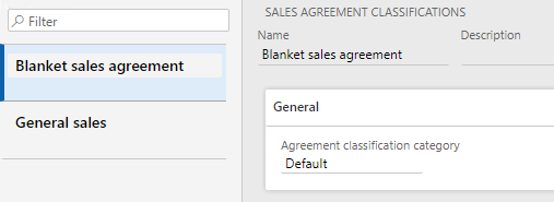 Sales agreement classifications