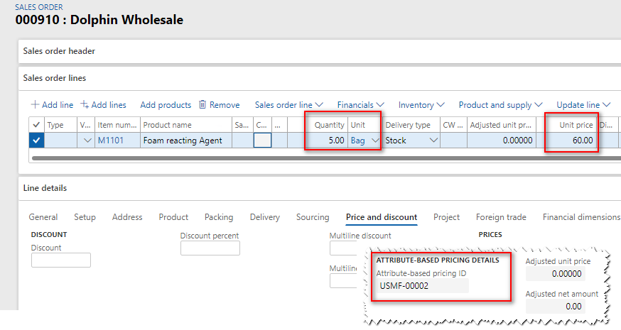 Sales order - attribute-based pricing